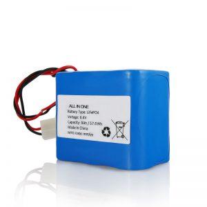 6.4V 12Ah LiFePO4 Günəş işığı üçün bağlayıcı ilə doldurulan Lityum 26650 32650 batareya paketi